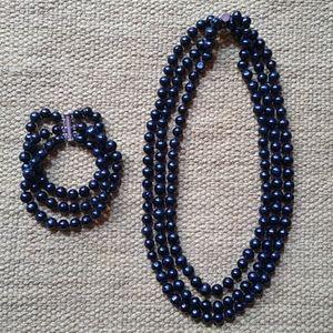 Black Pearl Necklace & Bracelet
